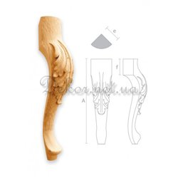 "Bent carved leg ""MN - 004"" with sheet"