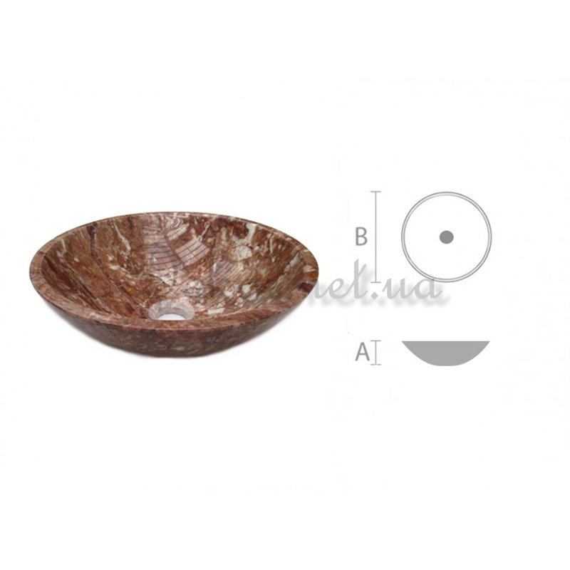 Stone sink RK - 001 Red marble